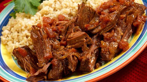 Slow-roasted beef with medium grain rice