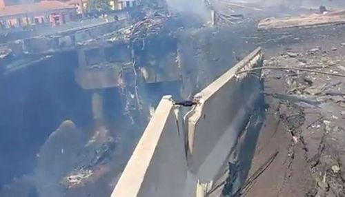 The explosion caused a bridge to collapse. Picture: Twitter