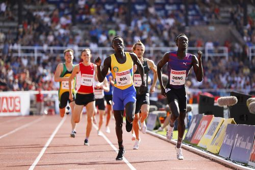 Joseph Deng (right) broke Australia's longest-standing athletics record in Monaco last week, running alongside fellow Sudanese-Australian Peter Bol. Picture: AAP