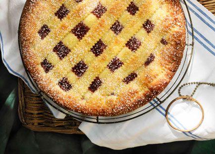 Rhubarb and raspberry jam crostata