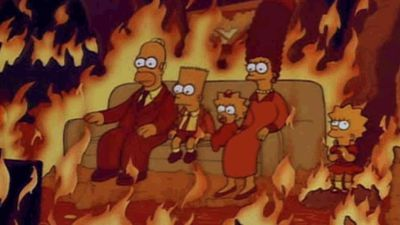 A scene from The Simpsons of the family sitting in 'hell' was posted onto Twitter by users with the hashtag #ThingsColderThanToday (Twitter)