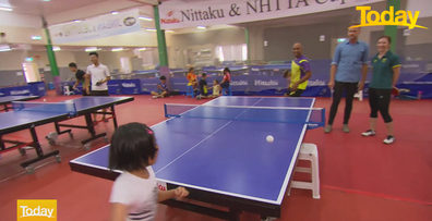 Davies was praising the little girl's skills when the ball came sailing towards him.