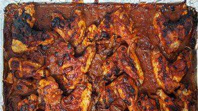 Chicken wings simmered and baked with Chicken Tonight BBQ wings sauce