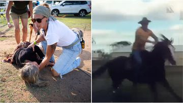 A woman has been injured after a horseback man allegedly knocked her over during an anti-Adani protest in central Queensland.