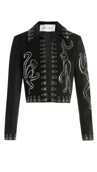 "<a href=""http://www.stylebop.com/au/product_details.php?id=608815"" target=""_blank"">Embellished Suede Jacket, $7,251, Valentino, stylebop.com</a>"