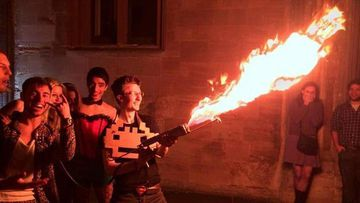 Inigo Lapwood made headlines in late 2013 for bringing a homemade flamethrower to a party at Oxford University. (Supplied)