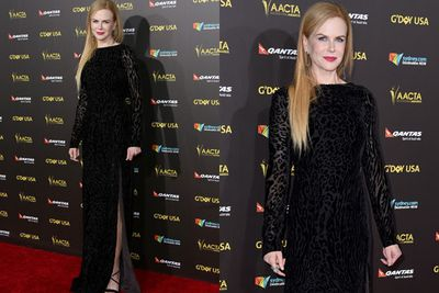 The ever-ethereal Nicole Kidman flashes the teeniest bit of leg in her animal-print frock.