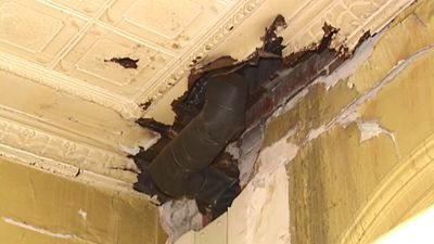 Water leaks have left heritage features of the 110-year-old station destroyed or badly damaged. (9NEWS)