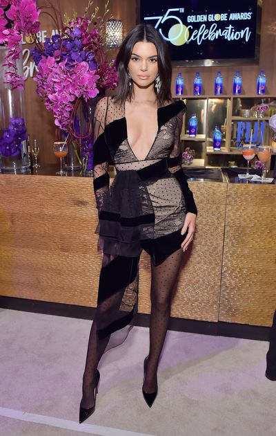 Model Kendall Jenner in Alexandre Vauthier at HBO's Official Post-Golden Globes Party in LA