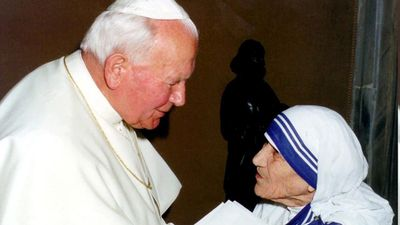 In 1979, Mother Teresa was awarded the Nobel Peace Prize for her work undertaken in the struggle to overcome poverty an distress. She refused the traditional Nobel banquet and requested the ceremony's budget be donated to the poor of India. (AAP)