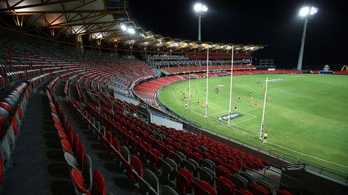 Metricon Stadium was empty for the opening round of the AFL competition in March.