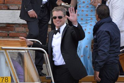 Keen bean!<br/><br/>George's good friend and fellow actor Matt Damon was the first to arrive at the exclusive hotel with wife Luciana Barroso. <br/><br/>