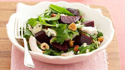 <strong>Chicken and beetroot salad with blue cheese and hazelnuts</strong>