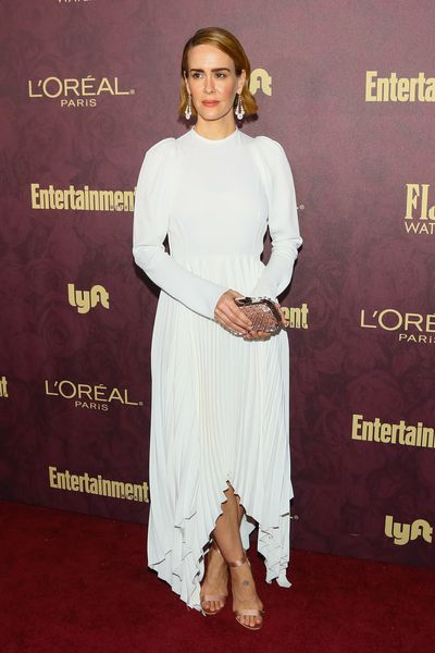 Sarah Paulson arrives to the 2018 Entertainment Weekly Pre-Emmy Party in West Hollywood. Paulson is nominated for the 'Lead Actress in a Limited Series or Movie' award for her role in&nbsp;<em>America Horror Story: Cult.<br> <br> </em>