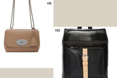"<p><b>01.</b><a href=""http://www.mulberry.com/shop/womens-bags/shoulder-bags/lily-mushroom-grey-small-classic-grain"" target=""_blank"">Lily Small Classic Grain Bag, approx. $1,274, Mulberry</a></p><p><b>02.</b> <a href=""http://www.nastygal.com.au/accessories-bags-backpacks/kelsi-dagger-metro-leather-backpack"" target=""_blank"">Metro Leather Backpack, $250.63, Kelsi Dagger</a></p>"