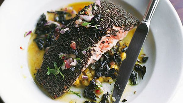 Brown mustard seed ocean trout with black basil butter