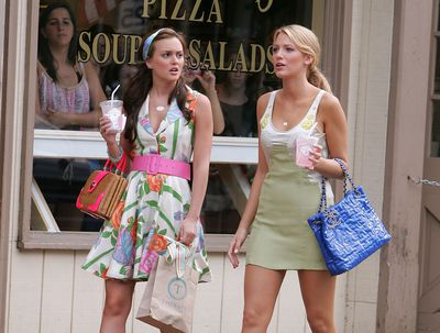 Actress Leighton Meester as Blair Waldorf in Gossip Girl carries a Kate Spade tote in New York,  June 2008