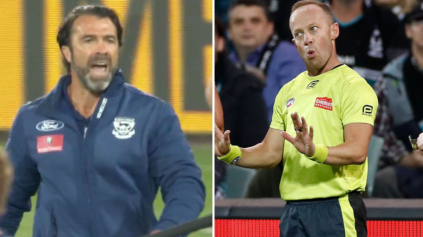 Geelong coach Chris Scott unloads on umpires following messy centre bounces