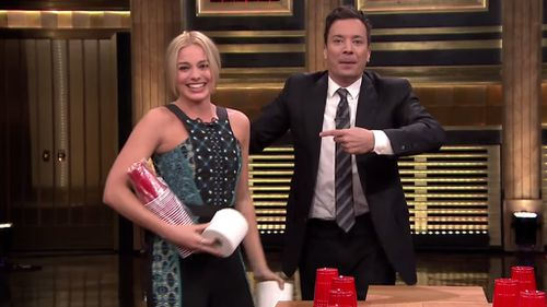 Aussie actress Margot Robbie beats Tonight Show host Jimmy Fallon in drinking game