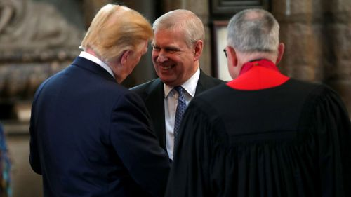 Prince Andrew shakes hands with Trump during the visit to Westminster Abbey on June 3 this year.