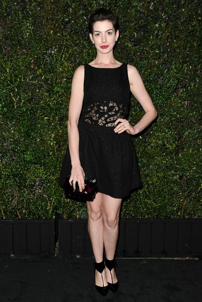 Anne Hathaway wearing Chanel at a pre-Oscars dinner in 2014.