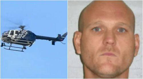 The police helicopter blared Mr Richardson's description during the search today. (9NEWS/Queensland Police)