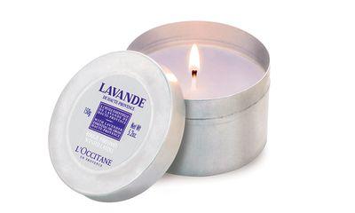 """<a href=""""http://au.loccitane.com/lavender-scented-candle,23,1,1230,160438.htm"""" target=""""_blank"""">Lavender Scented Candle, $35, L'Occitane</a>"""