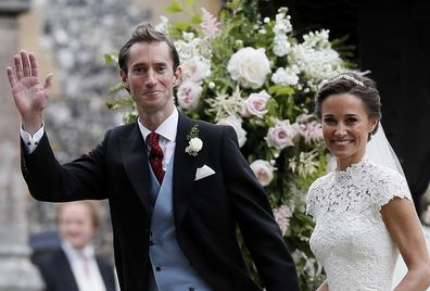 Pippa Middleton, right, and James Matthews smile after their wedding at St Mark's Church in Englefield, England.