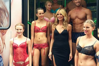 """Did Heidi feel a tad overdressed for the occasion?<br/><br/>@myer: """"Now that's what you call an entrance! The stunning @heidiklum and her gorgeous models made their way to #myermelbourne on the Heidi Klum tram! #heidiklumintimates #heidiatmyer"""""""