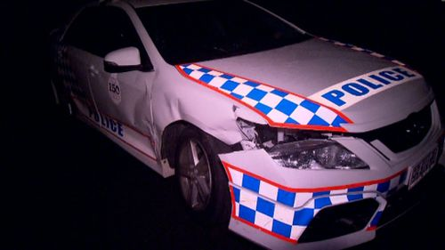 Police cars were allegedly rammed during Sunday's chase. (9NEWS)