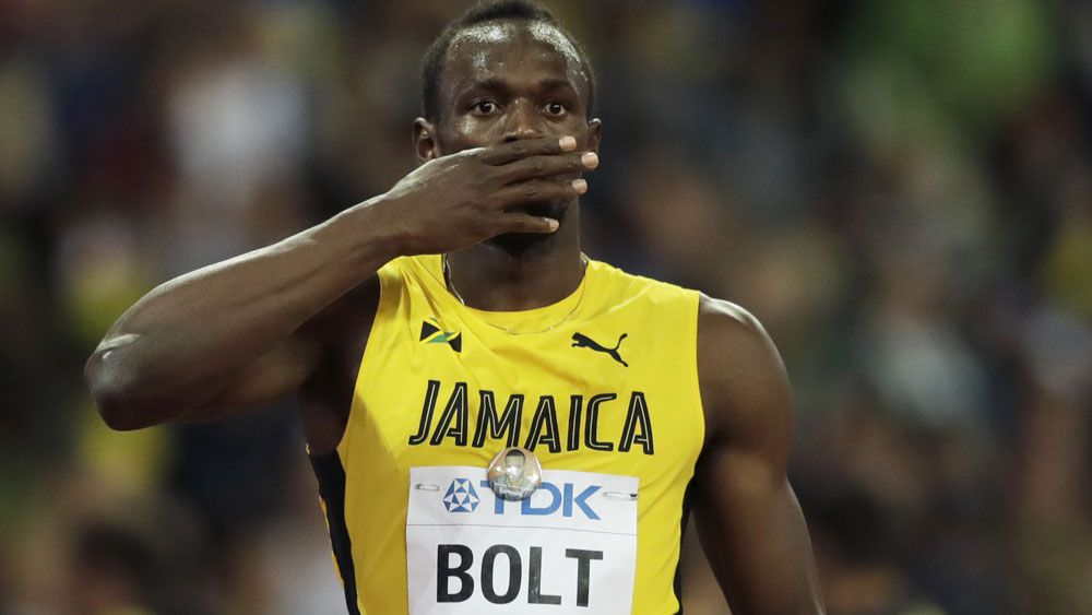 Usain Bolt finished third in his final 100m race. (AAP)