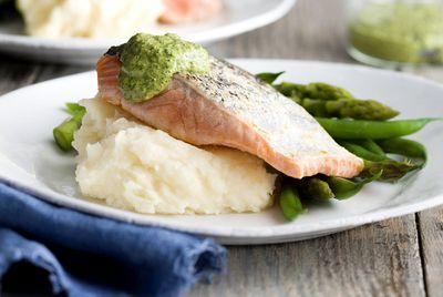 Crispy skin salmon with salsa verde and creamy mash