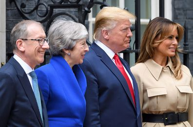 Donald and Melania Trump in the UK, pictured with Theresa and Phillip May.