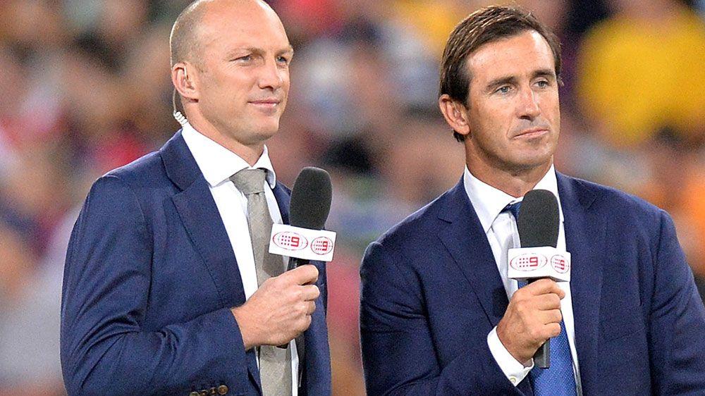 Darren Lockyer (L) during commentary duties alongside Joey Johns. (Getty-file)