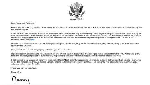 A letter from Nancy Pelosi, detailing plans for President Donald Trump's possible impeachment.
