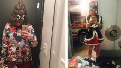 Miley Cyrus showed off some quirky Christmas outfits in two selfies on social media. (Instagram)
