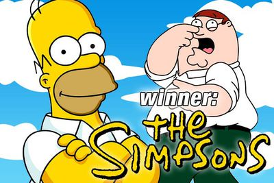 <B><I>The Simpsons</I></B> is the winner, with six victories compared to <B><I>Family Guy</I></B>'s four. (This result should not be a surprise. As if <I>Family Guy</I> would ever beat <I>Simpsons</I>.)
