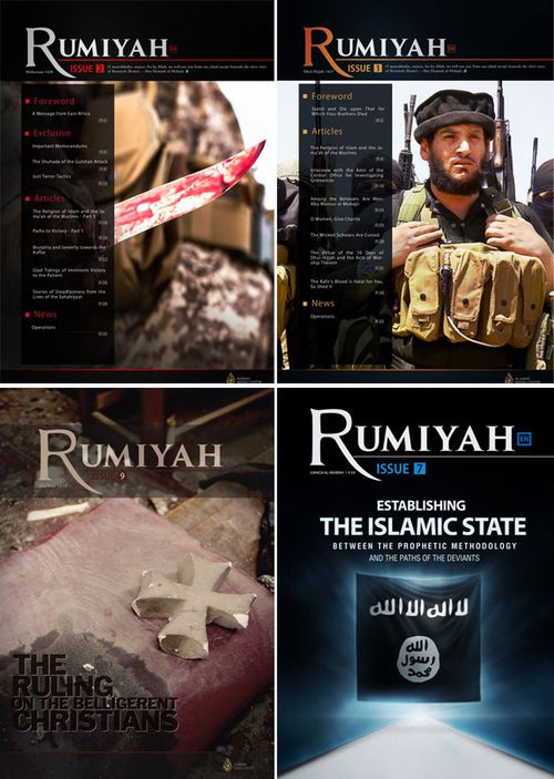 Various covers of Rumiyah, the online magazine once distributed regularly by Islamic State's media unit.