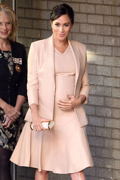 Heavily pregnant Duchess of Sussex Meghan Markle arrives for royal engagement to the National Theatre in London, January 2019