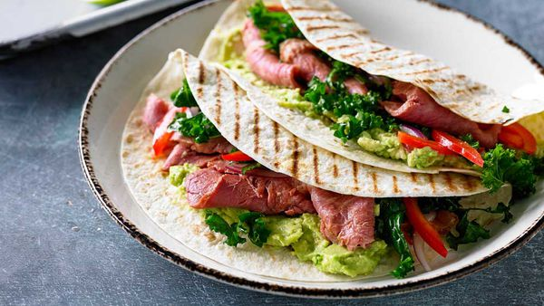 Chipotle corned beef, kale, red pepper and lime tortilla wraps recipe