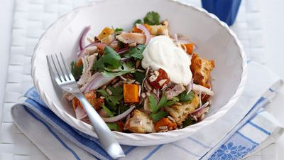 "Recipe:&nbsp;<a href=""http://kitchen.nine.com.au/2016/05/16/17/56/chicken-and-pumpkin-salad"" target=""_top"" draggable=""false"">Chicken and pumpkin salad<br /> </a>"