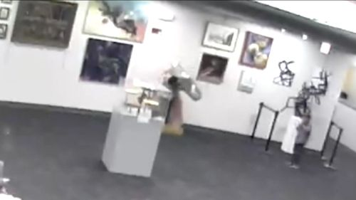 The boy's doomed attempt on May 19 at the Overland Park's Tomahawk Ridge Community Centre in Kansas City, Kansas was caught on CCTV. Picture: Supplied
