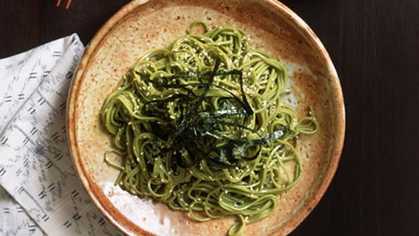 Cha soba noodles with traditional accompaniments