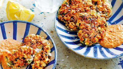 "Recipe: <a href=""http://kitchen.nine.com.au/2017/09/25/12/03/sea-bass-kofte-with-smoked-pepper-sauce"" target=""_top"">Sea bass kofte with charred capsicum sauce (fish cake)</a>"