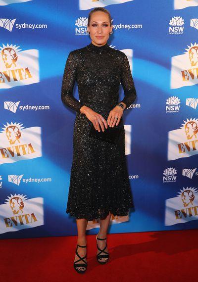 <em>Home and Away </em>star Erika Heynatz&nbsp;at the premiere of&nbsp;<em>Evita</em>,&nbsp;Sydney Opera House.