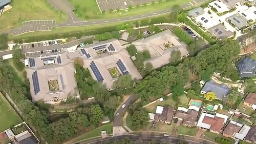 An aerial view of Newmarch House in Sydney's west, the location of a potentially deadly coronavirus outbreak.