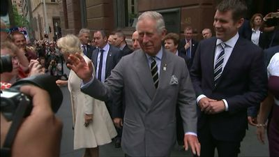 Prince Charles waves at excited fans during a meet and greet in Sydney's Martin Place. (9NEWS)