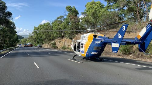 CareFlight's rapid response helicopter was tasked at 9am to the incident, where NSW Police were required to stop traffic to allow the helicopter to land just metres away from the scene.