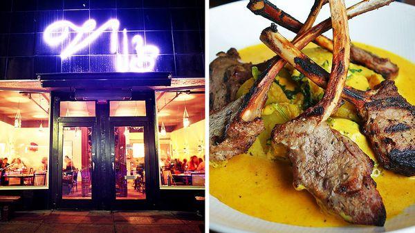 Exterior of Vij's restaurant (Vij's/Twitter); marinated lamb popsicles (Followmefoodie/Twitter)