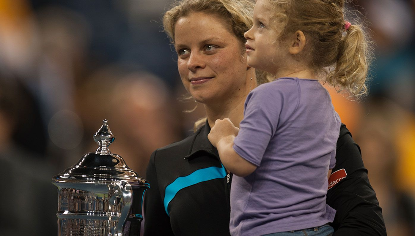 Kim Clijsters with daughter Jada after defeating Vera Zvonareva in the final of the 2010 U.S. Open.